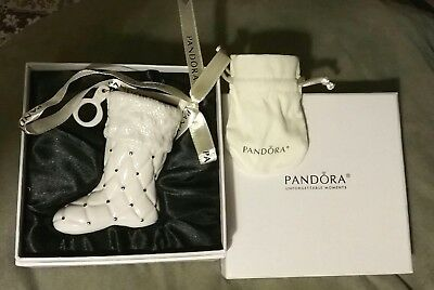 Authentic 2012 Pandora Ltd Edition White Stocking Ornament & Pouch~Original Box
