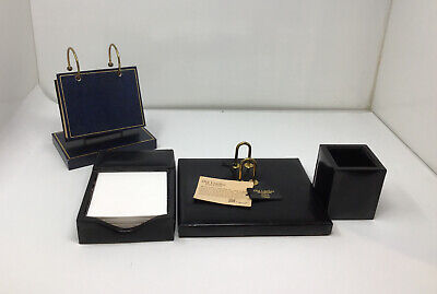Vtg Bosca Black Executive Leather Letter Desk Set Pen Holder Note Pad Rolodex