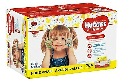 HUGGIES Simply Clean Fragrance-Free Baby Wipes Soft Pack, 704 Count ()