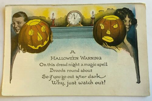 Vintage A Halloween Warning postcard - Series no 363 Hallowe