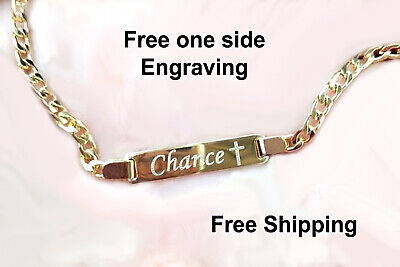 Baby bracelet 18k personalized baby girl bracelet Name plate Bracelet for - Infant Gold Bracelet