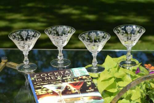 Vintage Acid Etched Cocktail Martini Glasses, Set of 4, Cambridge, 1950