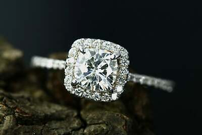 Lab-created Diamond&Cushion  Cut 0.50ct 14k white Gold Engagement Ring  for sale  Shipping to South Africa