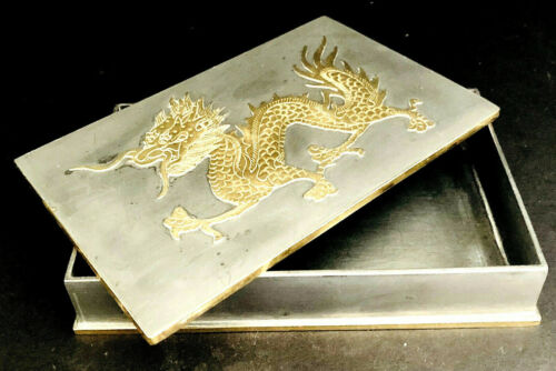 """Vintage 4x6"""" Pewter & Brass Cigarette or Decorative Box with Applied Dragon"""