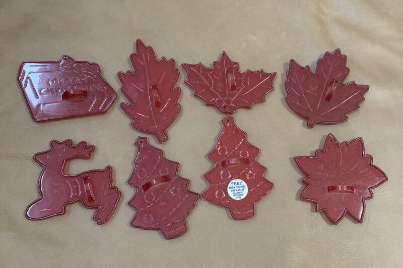 Vintage Clear Red Plastic Christmas Cookie Cutters 8 HRM Crown Logo Fall Xmas