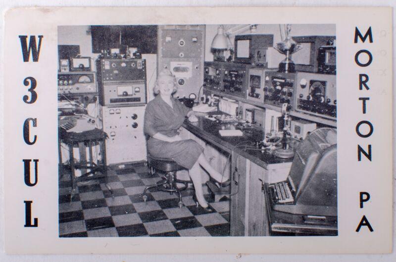 W3CUL Morton, Pennsylvania QSL Card Postcard