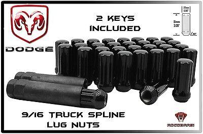 "20 Pc Dodge Ram 1500 Black Spline Lug Nuts 2"" Tall Xl Locking Lug Nuts Wheels"