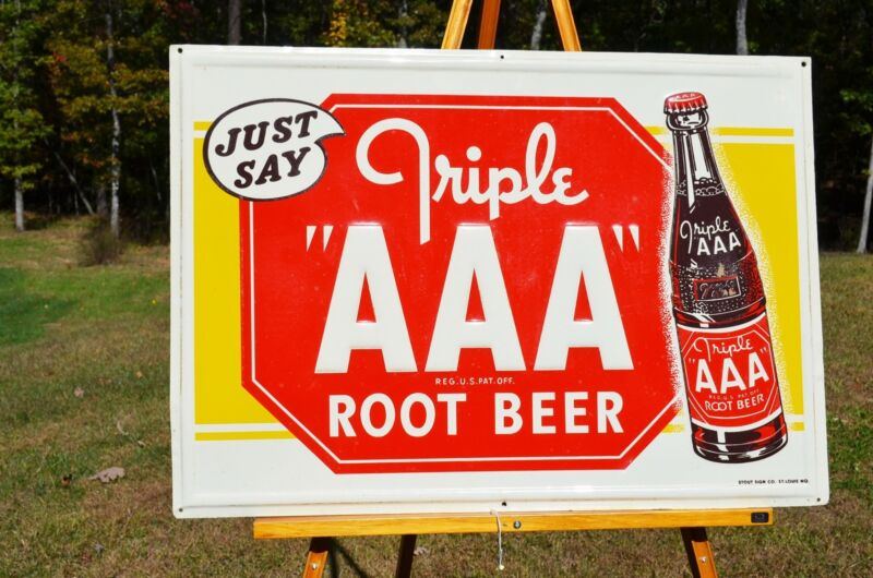 VINTAGE SUPER RARE TRIPLE AAA ROOT BEER SODA EMBOSSED SIGN NEAR- MINT SCARCE