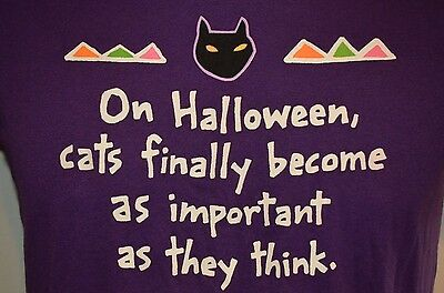 HALLOWEEN CATS Funny Feline USA VTG 80s 90s INDIE COMEDY Purple 50/50 L T-SHIRT