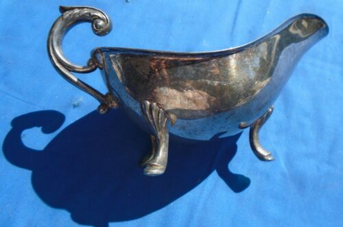 Gravy Sauce Boat Crescent 3 Footed Silverware Silverplate