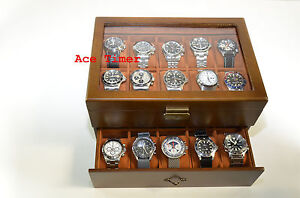 20-watch Glass Top Vintage Wood Finish Display Storage Case Box + Gift