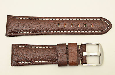 18mm Genuine Leather BROWN  Watch Band padded strap silver tone buckle