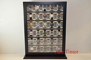 30-Watch-Black-Lacquer-Stand-Wall-Display-Case-Fit-up-to-60mm-Polishing-Cloth