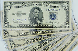 1953-BLUE-SEAL-5-SILVER-CERTIFICATE-HIGH-GRADE-VF-CURRENCY-BILL-w-BCW-HOLDER