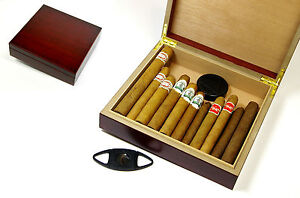 Probierset (bestehend aus 22 Zigarren) im Einsteiger-Humidor mit Anschneider