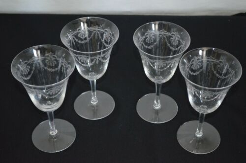 """Set of 4 Clear Glass Needle Etched Crystal Wine Glasses """"A"""""""