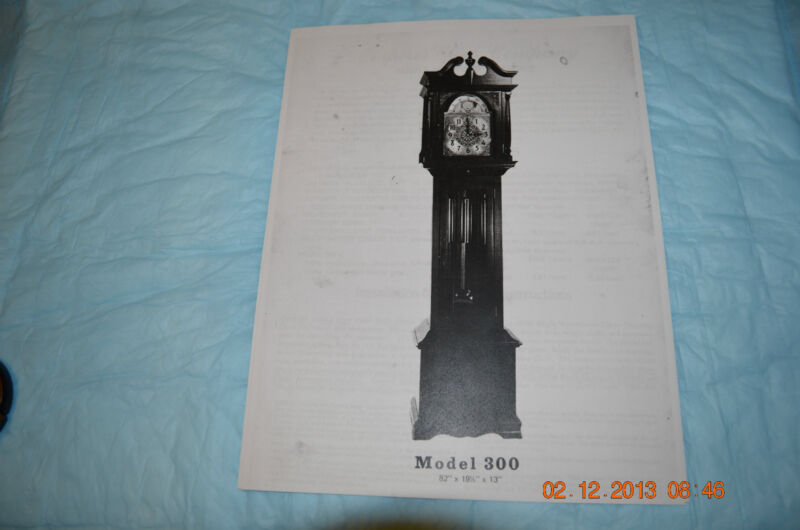 EMPEROR GRANDFATHER CLOCK INSTALLATION & OPERATING INSTRUCTIONS for model 300