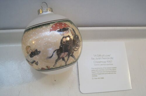 Vintage Schmid 1987 Ball Ornament A Gift of Love Juan Ferrandiz Donkey Mule