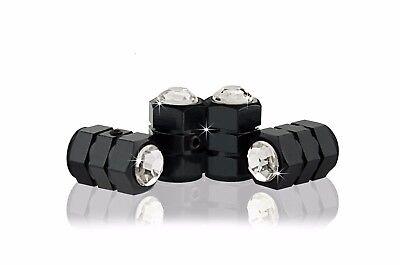 WHITE Crystal Locking Metal Black Tire Air Valve Cap-C/B