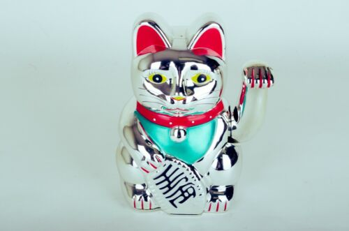 "10"" Tall Fortune Lucky silver Cat Feng Shui Wealth Waving Maneki Beckoning"