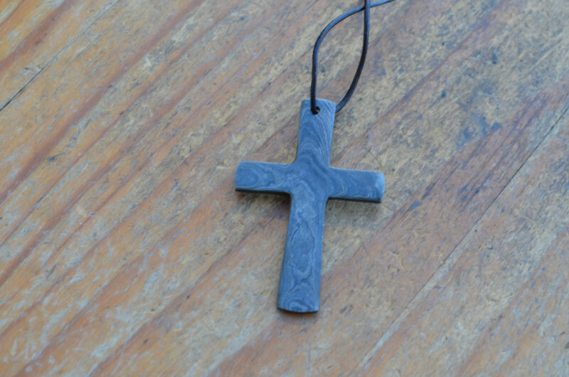 hand forged pentand cross in damascus steel new from the Eagle Collection V5960B