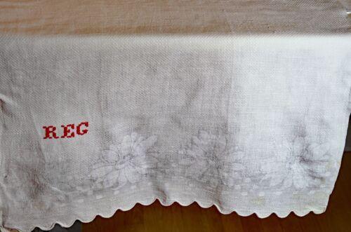 "Pair of Antique HUCK Damask TOWELS ""REG"" REDWORK Monogram UU968"