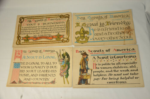 Antique Boy Scouts of America Scout Law Placard Official Motto Cards 1913 Setof4