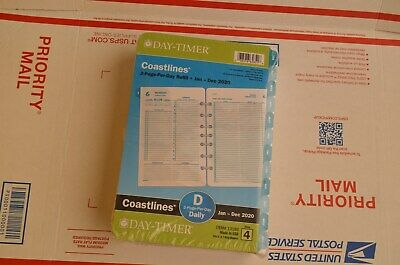 Day-timer 2020 Coastlines Daily Planner Refill 2 Pages Per Day Size 4