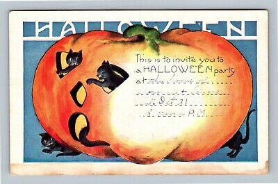 HALLOWEEN Vintage Whitney Postcard Party Invite Jack-O-Lantern Black Cats RSVP