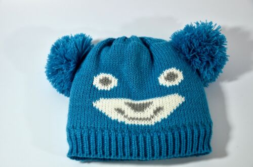 Toddler Blue Pom-Pom Ears Bear Face Sherpa Fur-lined Beanie Hat