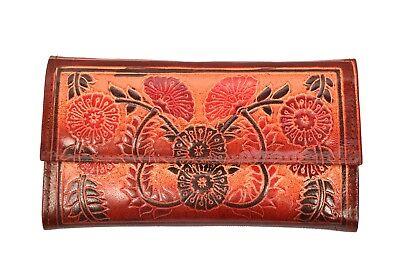 Genuine Leather Floral Design Shantiniketan Clutch Womens Wallet Boho Purse