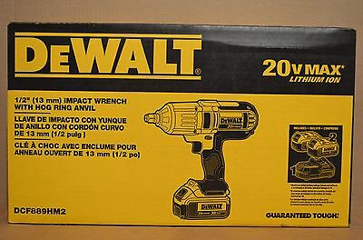 "Brand New DEWALT DCF889HM2 20V MAX Li-Ion 1/2"" High Torque Impact Wrench Kit"