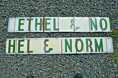 Ethel & Norm Vintage Metal & Green Art Deco Decal Fonts Advertising Sign