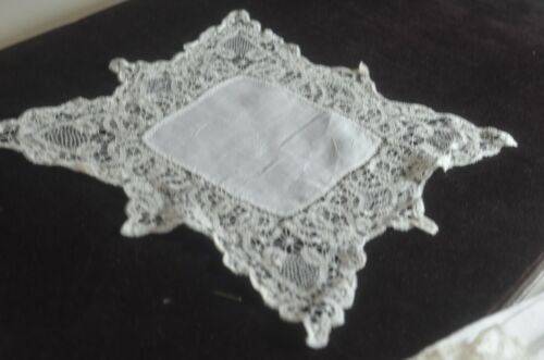 Antique Hand Made Hanky with Tape Lace  VV706