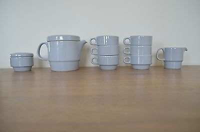 VINTAGE Mid-Century Modern RETRO Flat Top BLUE TEAPOT Cups Creamer Sugar TEA SET