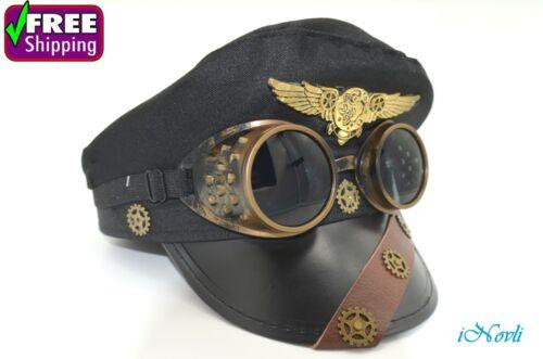 Captain Hat Retro Pilot Aviator Police Cap Steampunk Handmade W/ Goggles Cosplay
