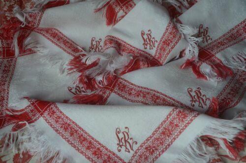 6 damask weave pure cotton tea time napkins, LR monogram, red border, fringes