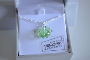 4 Leaf Lucky Green Shamrock Clover Necklace St Patricks w Swarovski Gift Box