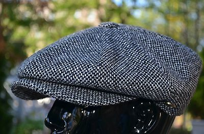 100% Wool Black Tweed Winter Applejack 8Panel Newsboy Cabbie Hat Golf Cap Ns2124