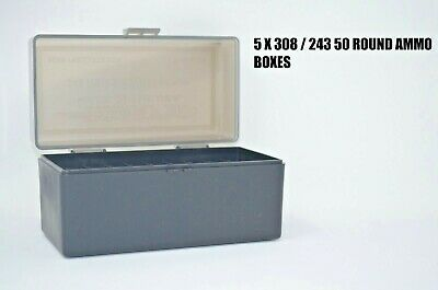 243 BERRY AMMO BOXES 50 RNDS OF STORAGE 3 .308 SMOKE COLOR