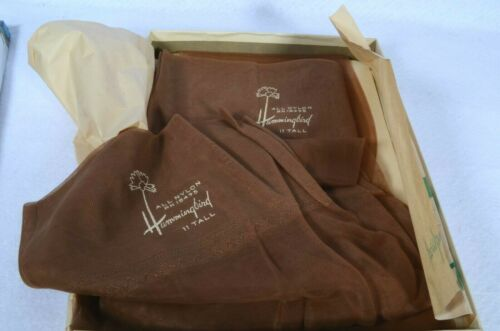 2 PAIR Vintage HUMMINGBIRD Nylon Stockings Size 11 TALL Color BEIGE Seamless