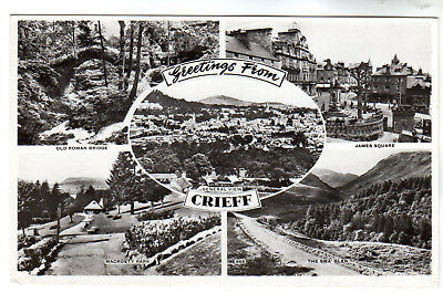 Crieff - Multiview Real Photo Postcard c1940s / Perth