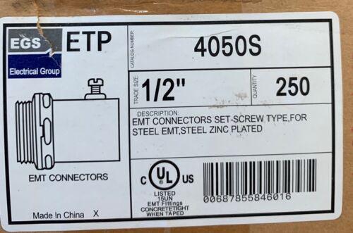 "EGS 1/2"" Steel Zinc Coated EMT Connectors Set Screw Type 250ct - FREE SHIPPING"