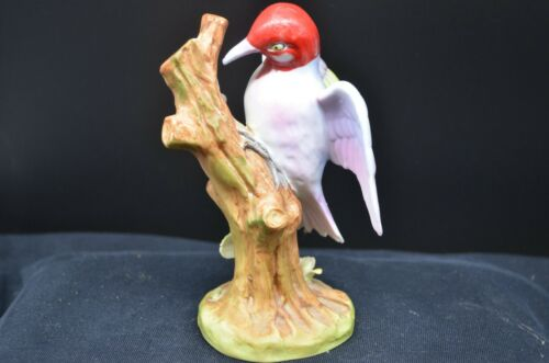 Beautiful ARDALT Porcelain RED-HEADED WOODPECKER ON Stump w/Blossoms-Japan