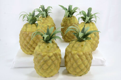 Set of 6 vintage plastic pineapple shape drink cups with snap on lid tops
