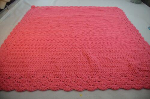 Vintage Handmade Crocheted Afghan Baby Blanket Pink 38 x 38