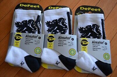 NEW DEFEET LION OF FLANDERS Cycling XL Extra Large Socks 3 pack WHITE  Defeet White Cycling Socks
