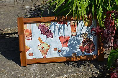 drinks cocktaiLs SUMMER tray RETRO VINTAGE WOODEN TEAK MID CENTURY