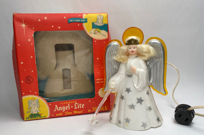 Vintage NOMA lluminated Christmas Angel Tree Topper with Box
