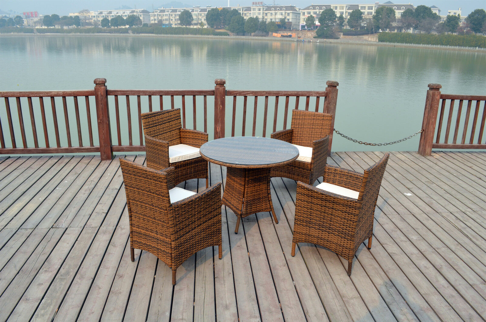 bistro garden rattan wicker outdoor dining furniture set table chairs